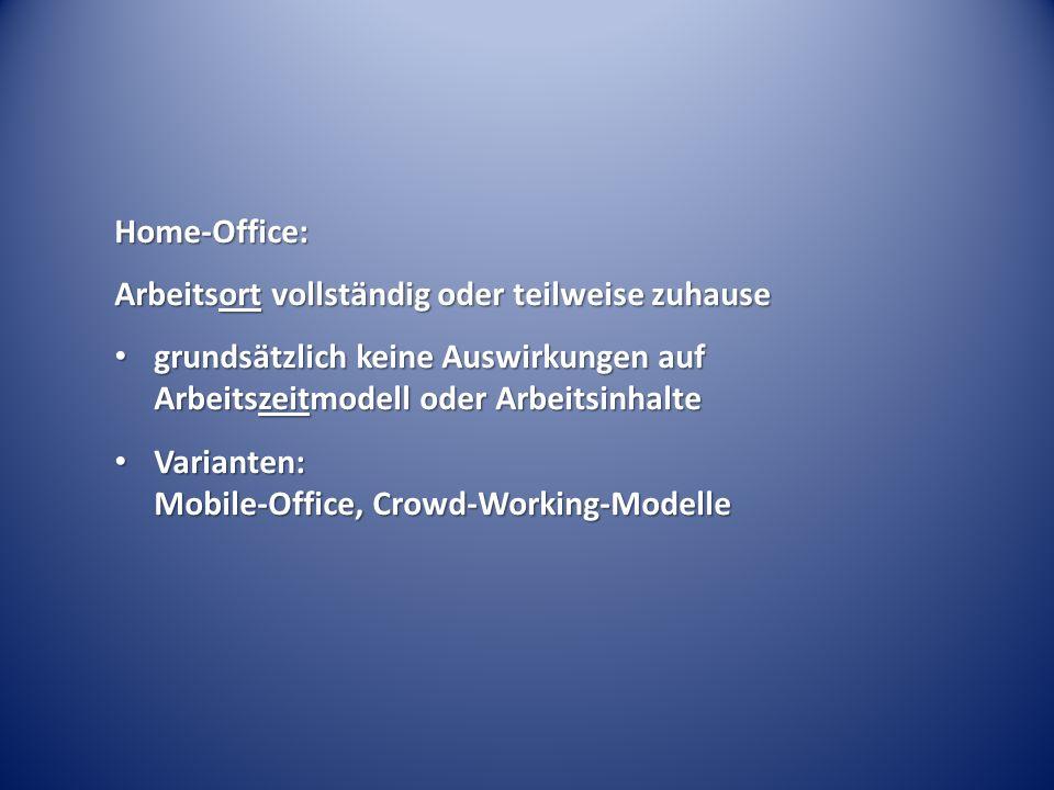 Home-Office: Arbeitsort vollständig oder teilweise zuhause grundsätzlich keine Auswirkungen auf Arbeitszeitmodell oder Arbeitsinhalte grundsätzlich keine Auswirkungen auf Arbeitszeitmodell oder Arbeitsinhalte Varianten: Mobile-Office, Crowd-Working-Modelle Varianten: Mobile-Office, Crowd-Working-Modelle