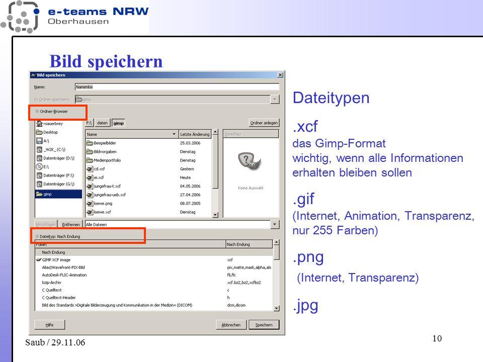Saub / 29.11.06 10 Bild speichern Dateitypen.xcf das Gimp-Format wichtig, wenn alle Informationen erhalten bleiben sollen.gif (Internet, Animation, Tr