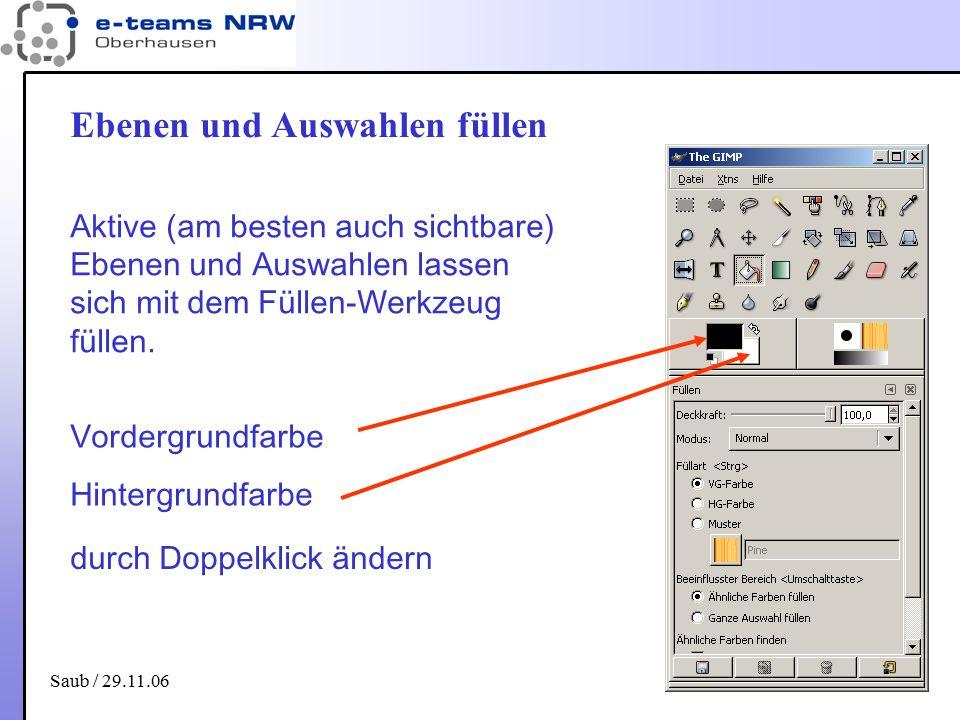 Saub / 29.11.06 20 Ebenen und Auswahlen füllen Aktive (am besten auch sichtbare) Ebenen und Auswahlen lassen sich mit dem Füllen-Werkzeug füllen. Vord