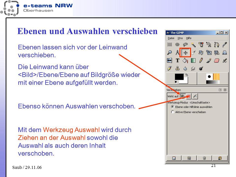Saub / 29.11.06 21 Ebenen und Auswahlen verschieben Ebenen lassen sich vor der Leinwand verschieben. Die Leinwand kann über /Ebene/Ebene auf Bildgröße