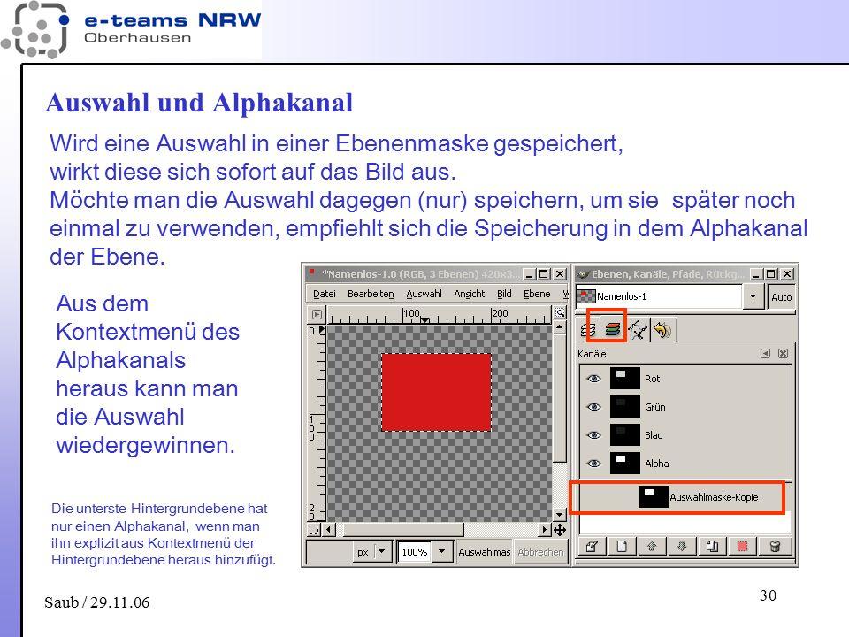 Saub / 29.11.06 30 Auswahl und Alphakanal Wird eine Auswahl in einer Ebenenmaske gespeichert, wirkt diese sich sofort auf das Bild aus. Möchte man die