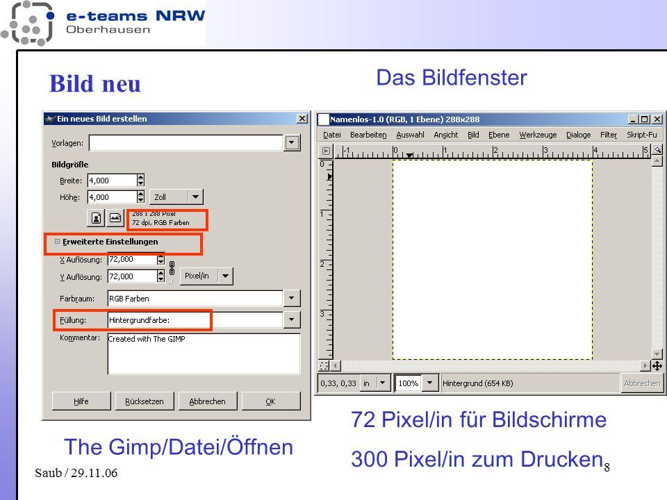 Saub / 29.11.06 8 Bild neu The Gimp/Datei/Öffnen 72 Pixel/in für Bildschirme 300 Pixel/in zum Drucken Das Bildfenster