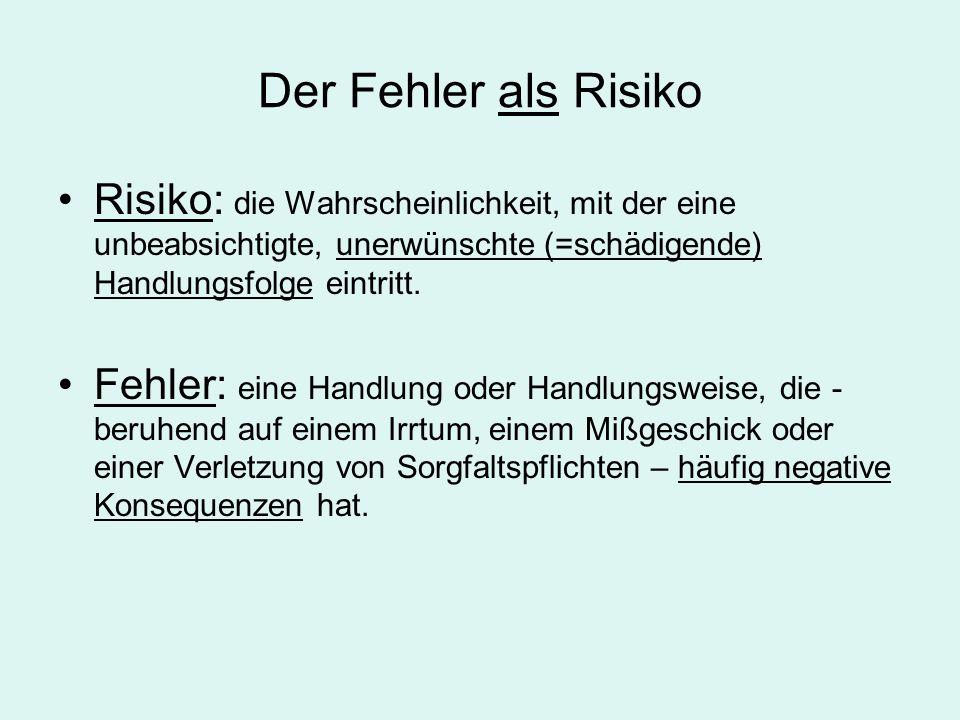 Der Fehler als Risiko Risiko: die Wahrscheinlichkeit, mit der eine unbeabsichtigte, unerwünschte (=schädigende) Handlungsfolge eintritt.