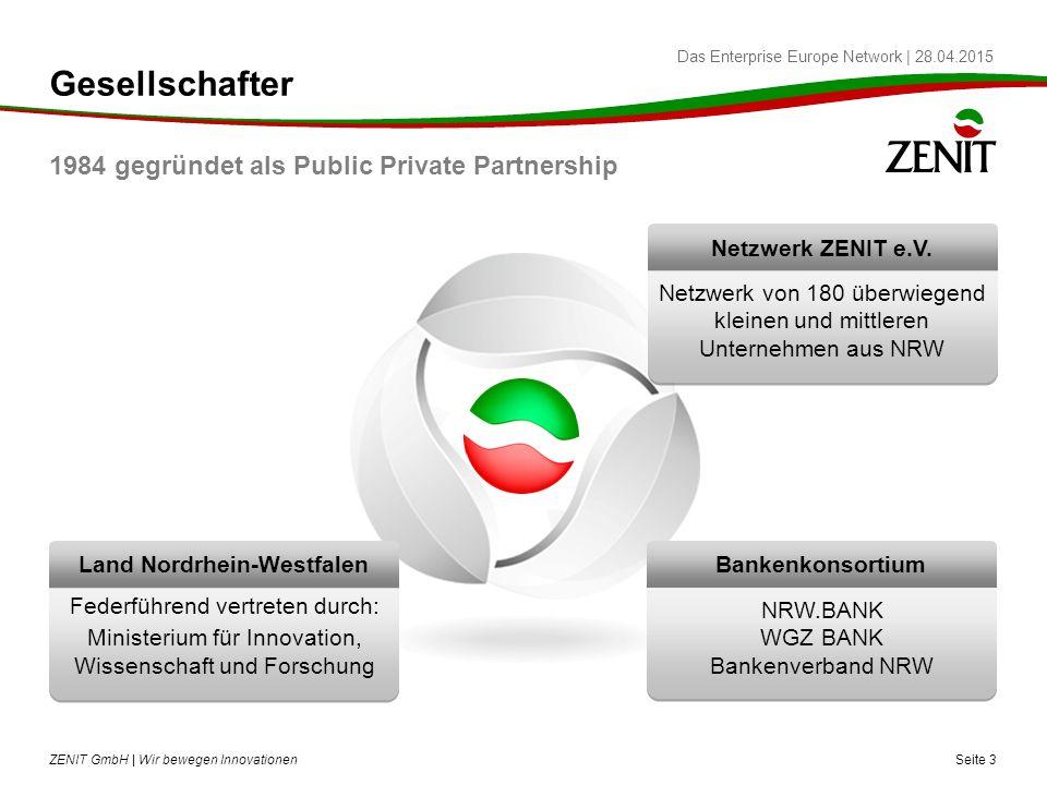 Das Enterprise Europe Network   28.04.2015 Gesellschafter 1984 gegründet als Public Private Partnership Seite 3 ZENIT GmbH   Wir bewegen Innovationen Land Nordrhein-Westfalen Federführend vertreten durch: Ministerium für Innovation, Wissenschaft und Forschung Netzwerk ZENIT e.V.
