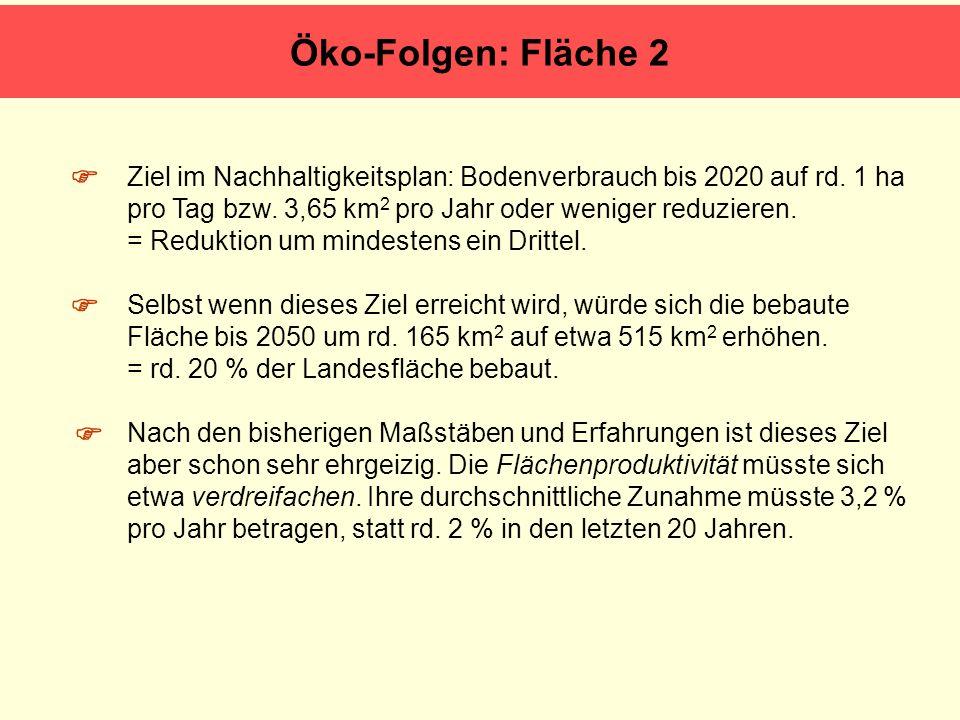 Ziel im Nachhaltigkeitsplan: Bodenverbrauch bis 2020 auf rd. 1 ha pro Tag bzw. 3,65 km 2 pro Jahr oder weniger reduzieren. = Reduktion um mindestens e