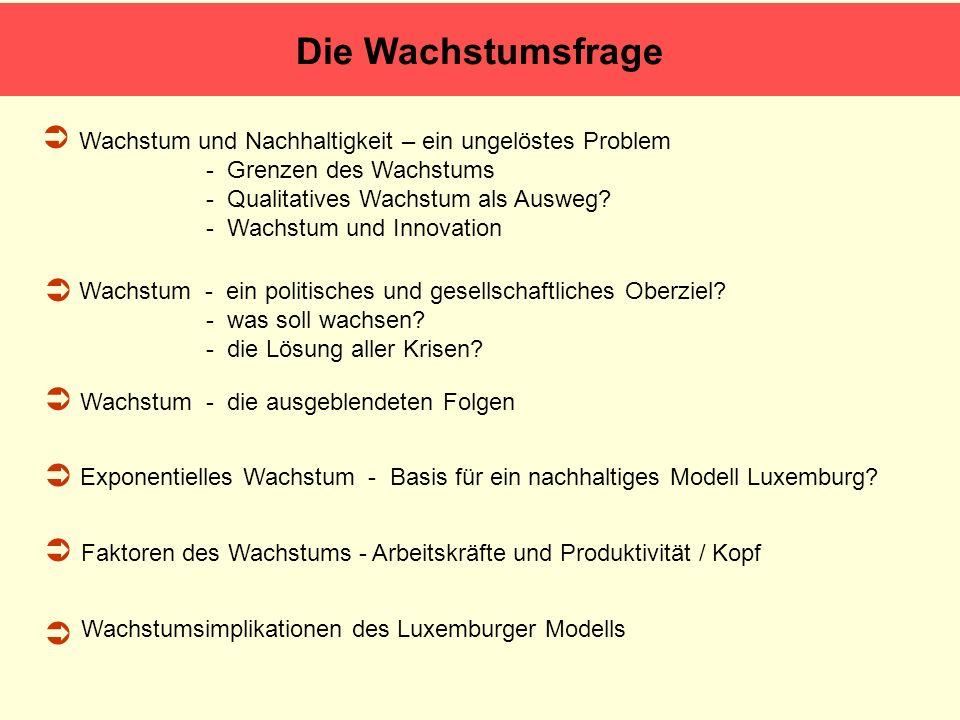 Fazit – Schlussfolgerungen Luxemburger Modell ist im Augenblick nicht nachhaltig – weder budgetär noch ökologisch.