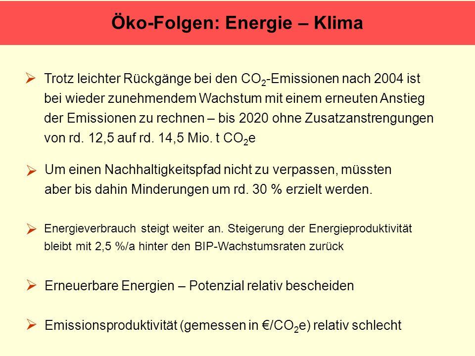 Öko-Folgen: Energie – Klima Trotz leichter Rückgänge bei den CO 2 -Emissionen nach 2004 ist bei wieder zunehmendem Wachstum mit einem erneuten Anstieg