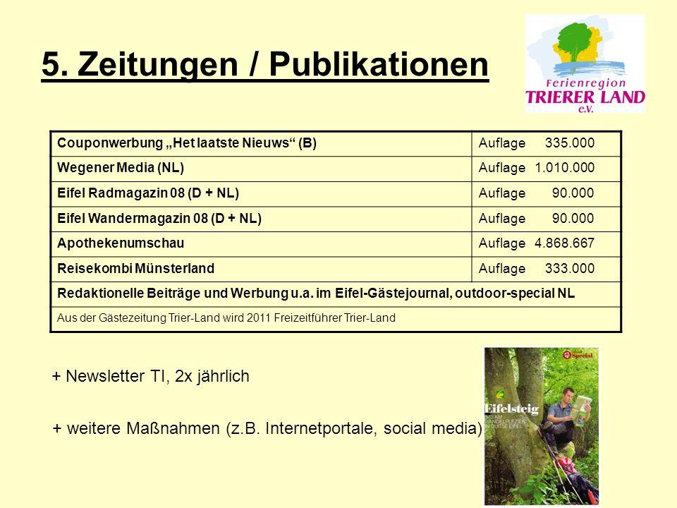 """5. Zeitungen / Publikationen Couponwerbung """"Het laatste Nieuws"""" (B)Auflage 335.000 Wegener Media (NL)Auflage 1.010.000 Eifel Radmagazin 08 (D + NL)Auf"""