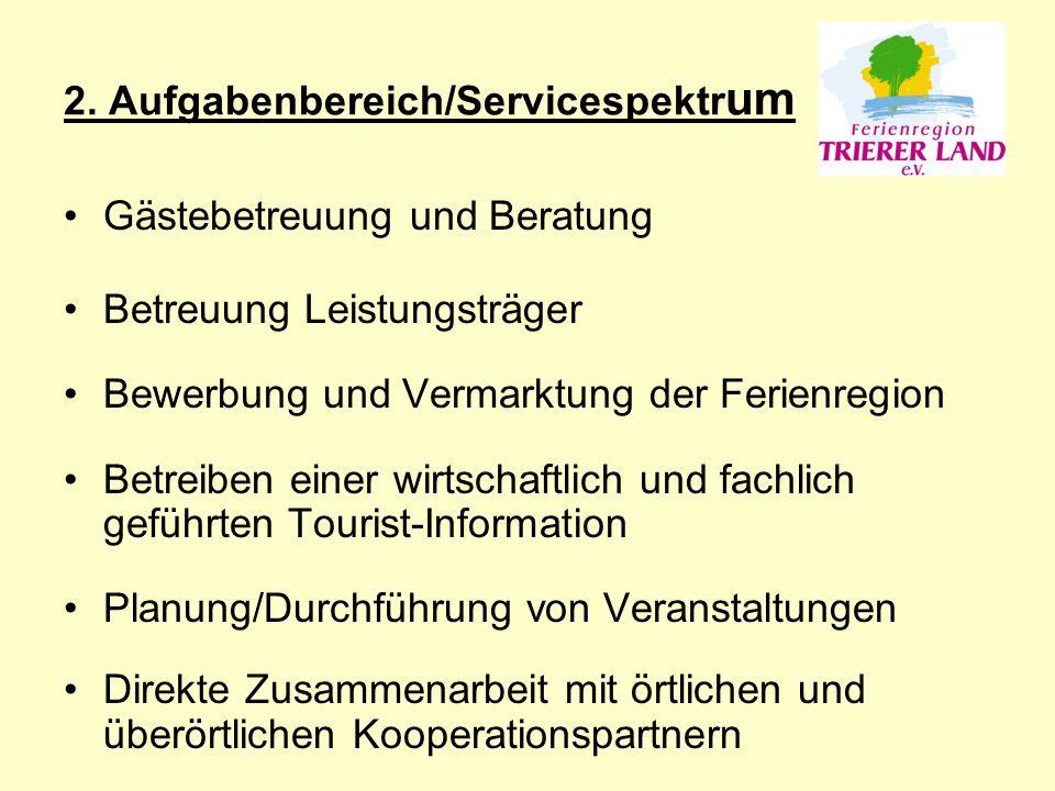 2. Aufgabenbereich/Servicespektr um Gästebetreuung und Beratung Betreuung Leistungsträger Bewerbung und Vermarktung der Ferienregion Betreiben einer w