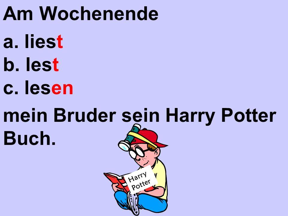 Harry Potter Am Wochenende a. liest b. lest c. lesen mein Bruder sein Harry Potter Buch.