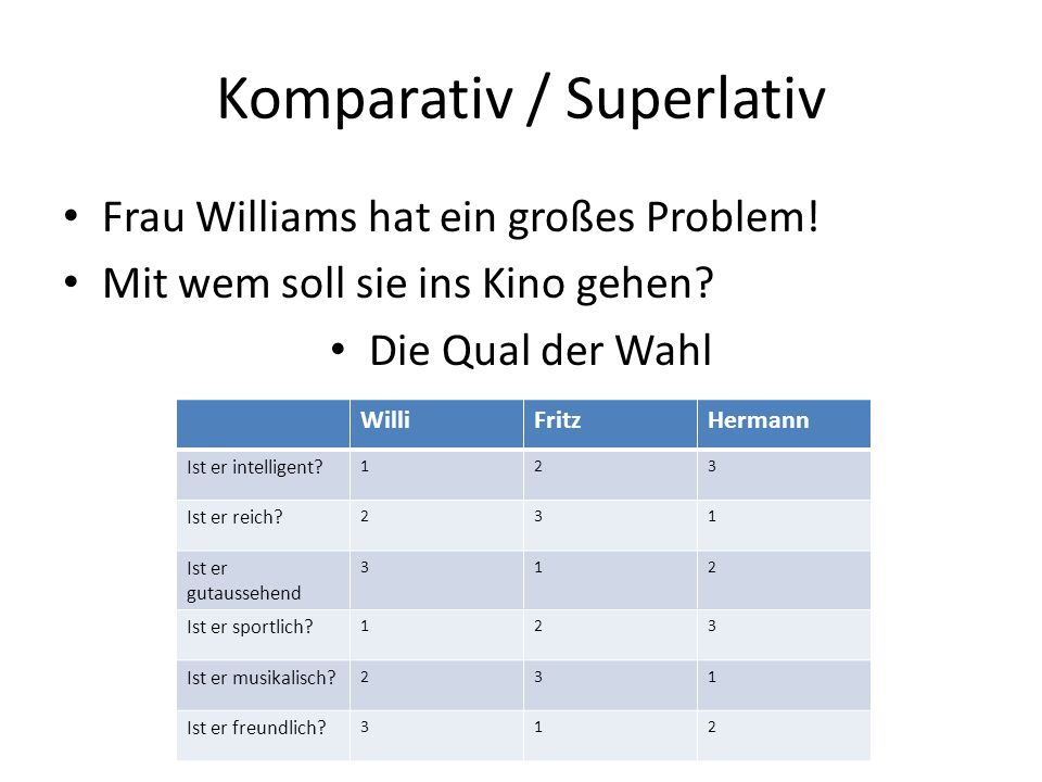 Komparativ / Superlativ Frau Williams hat ein großes Problem.