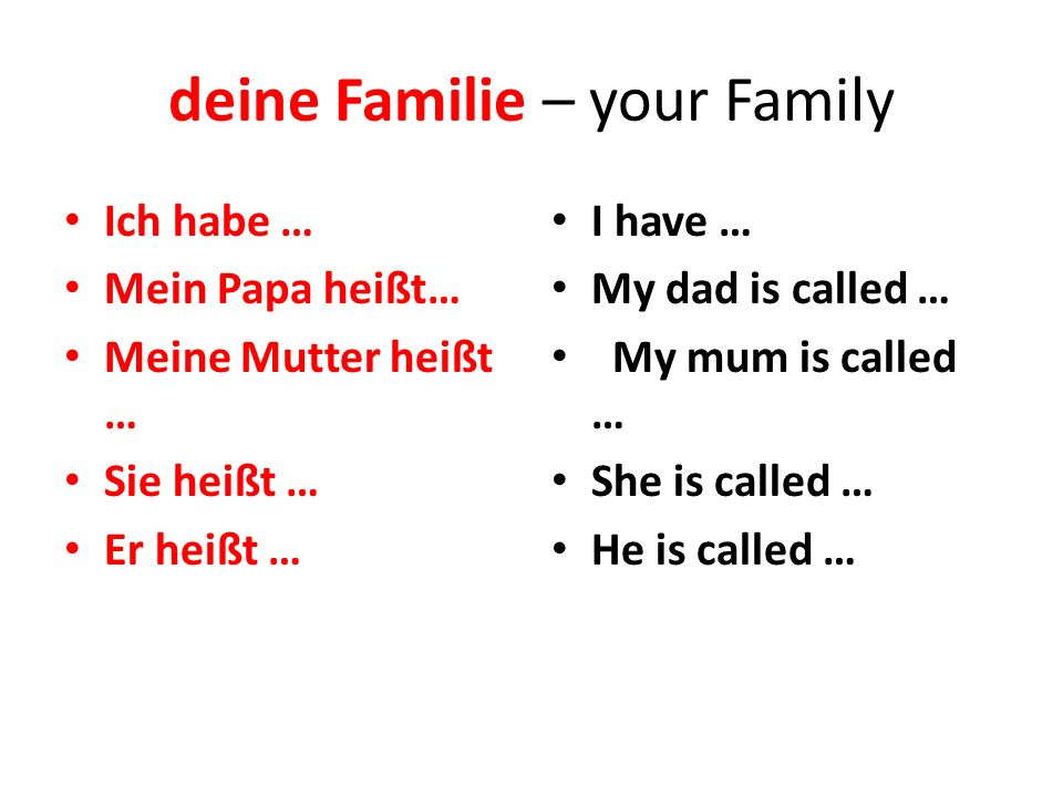 deine Familie – your Family Ich habe … Mein Papa heißt… Meine Mutter heißt … Sie heißt … Er heißt … I have … My dad is called … My mum is called … She is called … He is called …