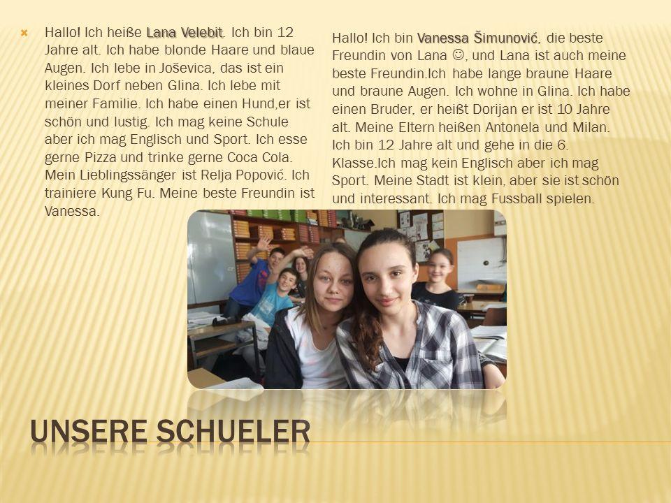 Katja Dejanović Ich heiße Katja Dejanović. Ich habe lange Haare und braune Augen.Ich bin 12 Jahre alt und wohne in Glina.Ich mag Schule und Deutsch.Ic