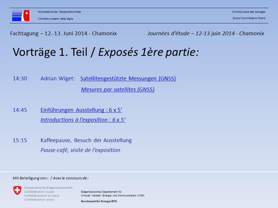 Fachtagung – 12.-13. Juni 2014 - Chamonix Vorträge 1.