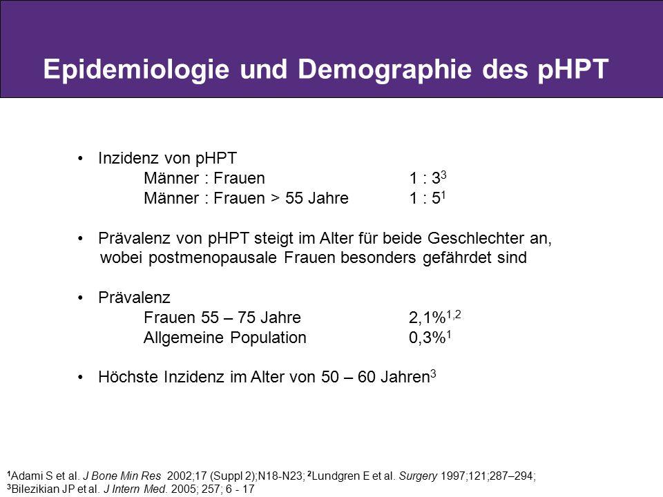 Epidemiologie und Demographie des pHPT 1 Adami S et al. J Bone Min Res 2002;17 (Suppl 2);N18-N23; 2 Lundgren E et al. Surgery 1997;121;287–294; 3 Bile