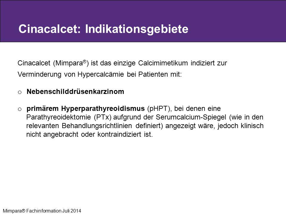 Cinacalcet: Indikationsgebiete Cinacalcet (Mimpara ® ) ist das einzige Calcimimetikum indiziert zur Verminderung von Hypercalcämie bei Patienten mit: