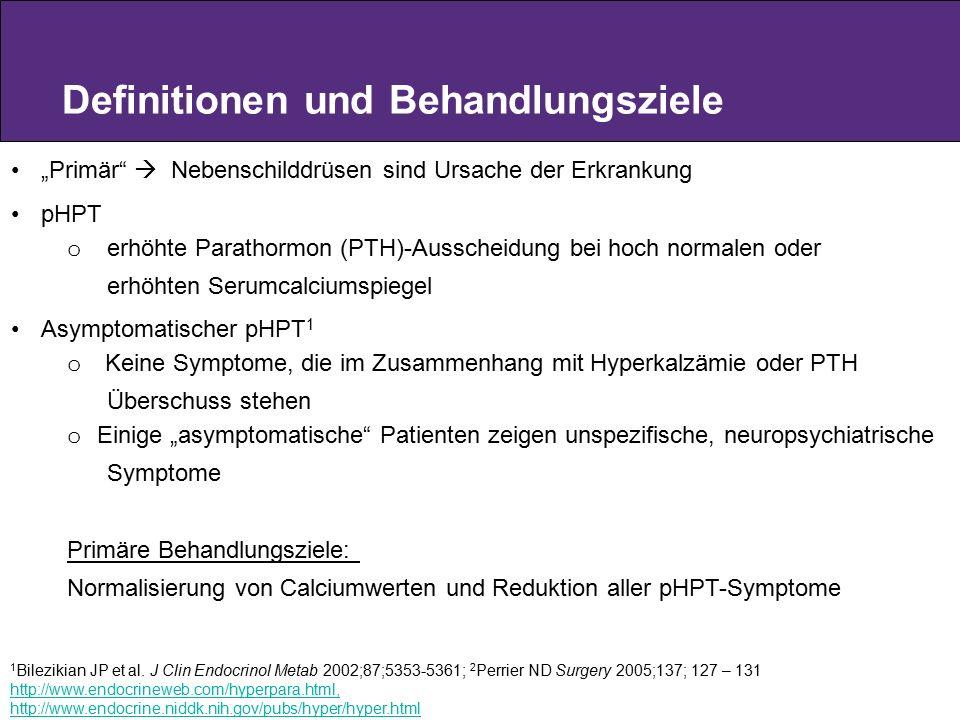 """Definitionen und Behandlungsziele """"Primär""""  Nebenschilddrüsen sind Ursache der Erkrankung pHPT o erhöhte Parathormon (PTH)-Ausscheidung bei hoch norm"""