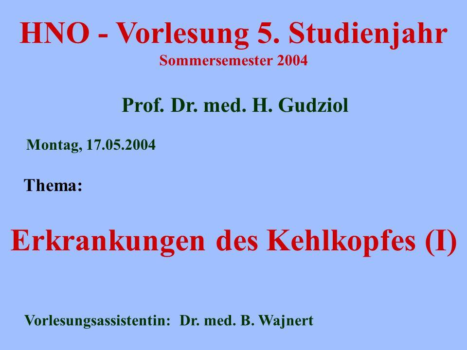 HNO - Vorlesung 5. Studienjahr Sommersemester 2004 Prof. Dr. med. H. Gudziol Erkrankungen des Kehlkopfes (I) Montag, 17.05.2004 Vorlesungsassistentin: