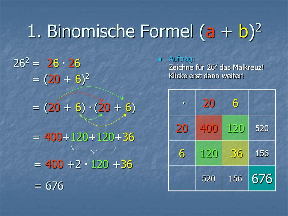 1. Binomische Formel (a + b) 2 Auftrag: Zeichne für 26 2 das Malkreuz.