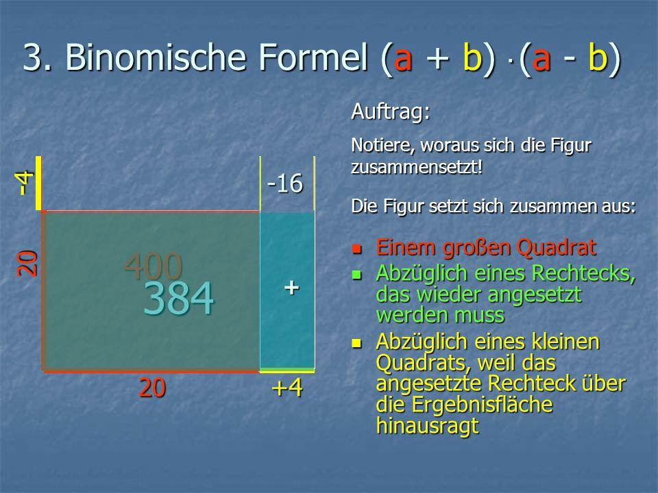 3. Binomische Formel (a + b). (a - b) Auftrag: Notiere, woraus sich die Figur zusammensetzt.