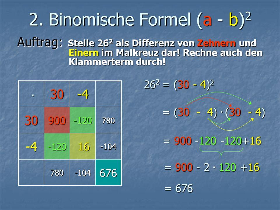 2. Binomische Formel (a - b) 2 Auftrag: Stelle 26 2 als Differenz von Zehnern und Einern im Malkreuz dar! Rechne auch den Klammerterm durch!. 30-4 309