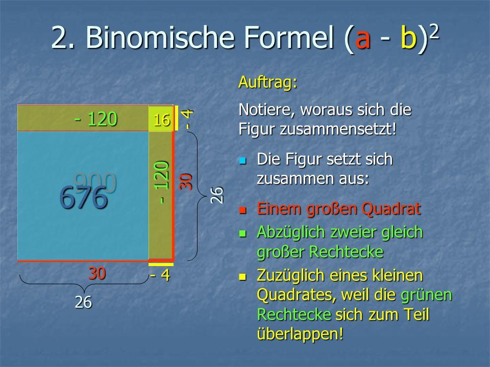 2. Binomische Formel (a - b) 2 Auftrag: Notiere, woraus sich die Figur zusammensetzt.