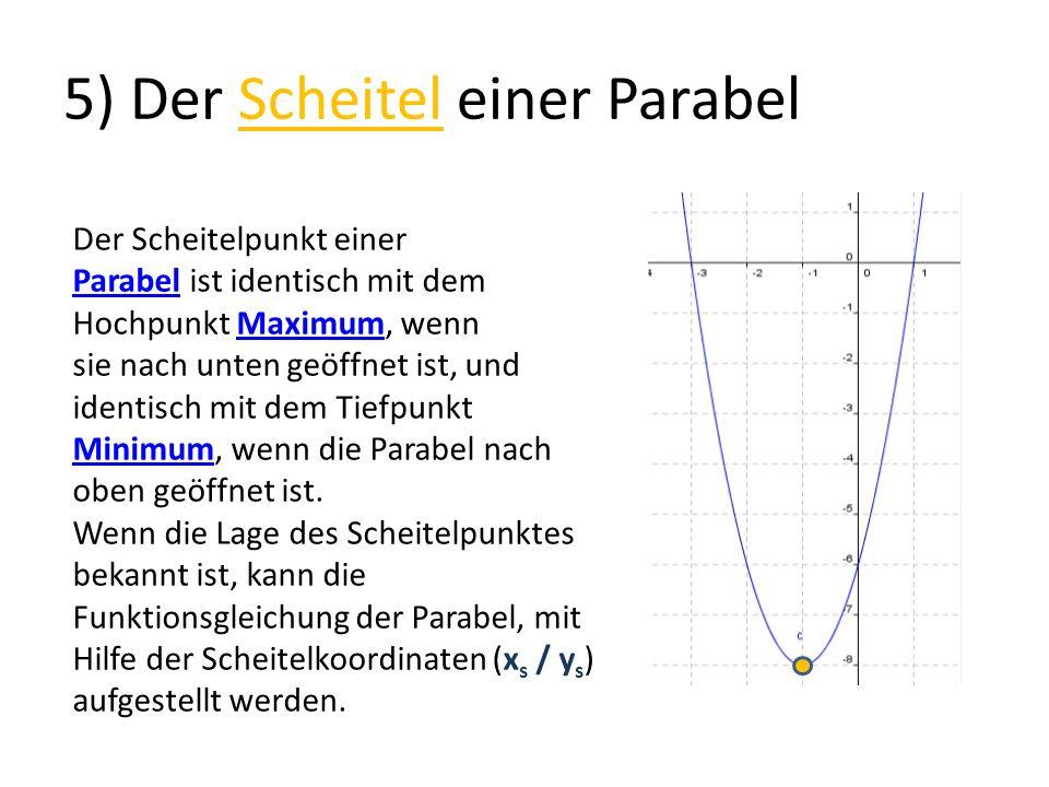 5) Der Scheitel einer Parabel Der Scheitelpunkt einer ParabelParabel ist identisch mit dem Hochpunkt Maximum, wennMaximum sie nach unten geöffnet ist,