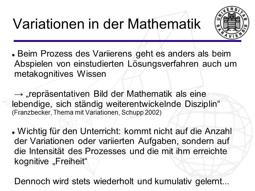 Variationen in der Mathematik Beim Prozess des Variierens geht es anders als beim Abspielen von einstudierten Lösungsverfahren auch um metakognitives