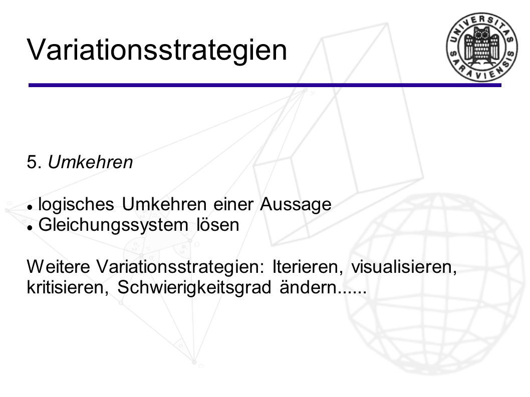 Variationsstrategien 5.