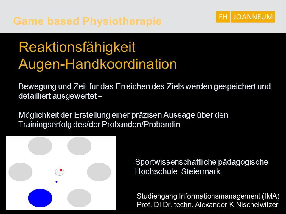 Reaktionsfähigkeit Augen-Handkoordination Bewegung und Zeit für das Erreichen des Ziels werden gespeichert und detailliert ausgewertet – Möglichkeit d