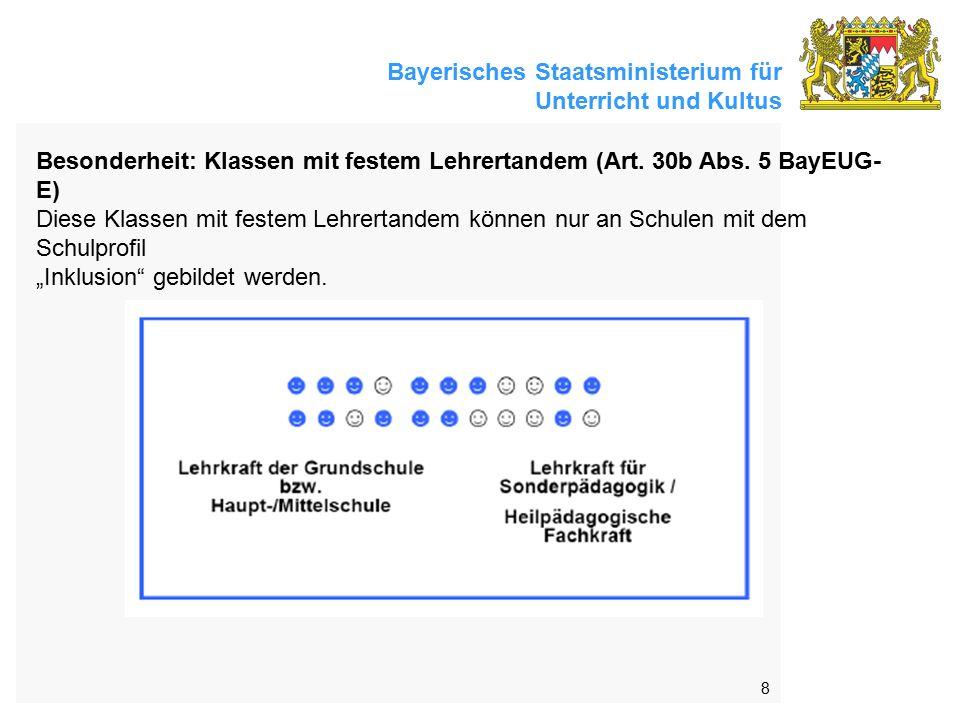 Bayerisches Staatsministerium für Unterricht und Kultus 8 Besonderheit: Klassen mit festem Lehrertandem (Art. 30b Abs. 5 BayEUG- E) Diese Klassen mit