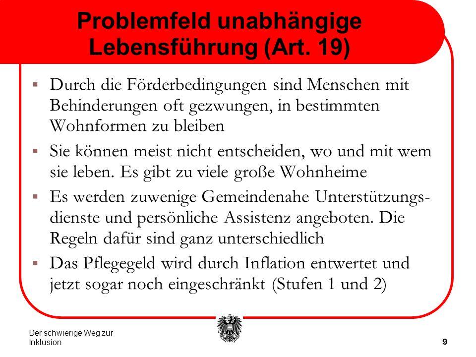 9 Problemfeld unabhängige Lebensführung (Art.