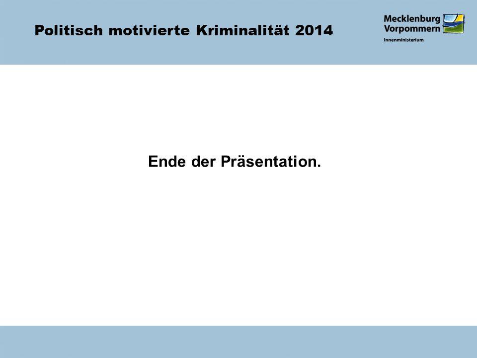 Politisch motivierte Kriminalität 2014 Ende der Präsentation.