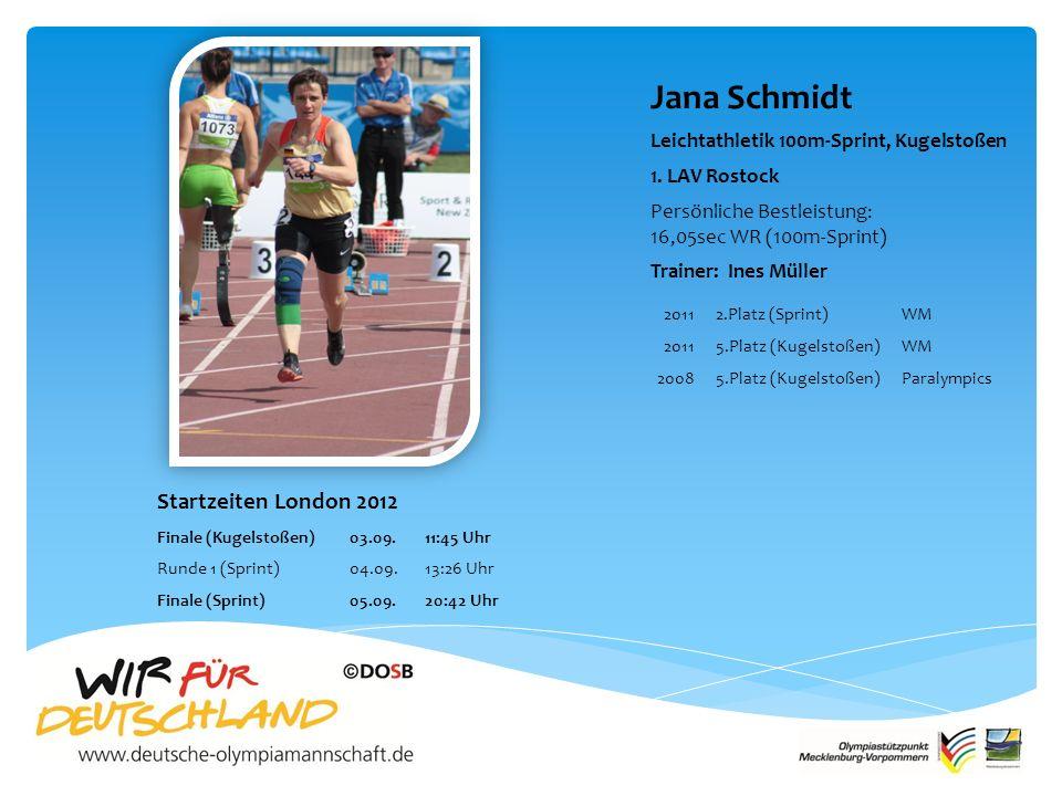 Jana Schmidt Leichtathletik 100m-Sprint, Kugelstoßen 1.
