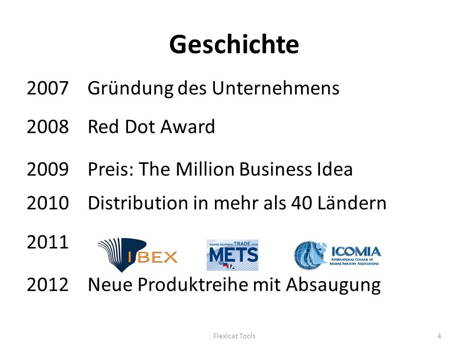 Geschichte 2007 Gründung des Unternehmens 2008 Red Dot Award 2009 Preis: The Million Business Idea 2010 Distribution in mehr als 40 Ländern Neue Produktreihe mit Absaugung Flexicat Tools4