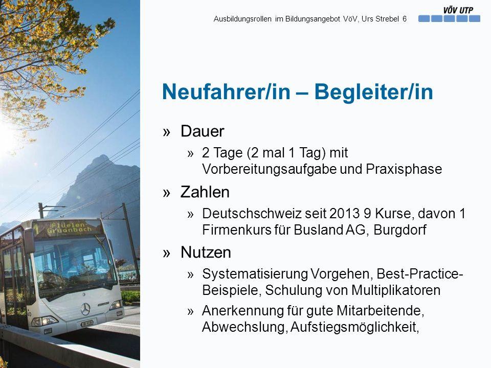 Neufahrer/in – Begleiter/in »Dauer »2 Tage (2 mal 1 Tag) mit Vorbereitungsaufgabe und Praxisphase »Zahlen »Deutschschweiz seit 2013 9 Kurse, davon 1 F