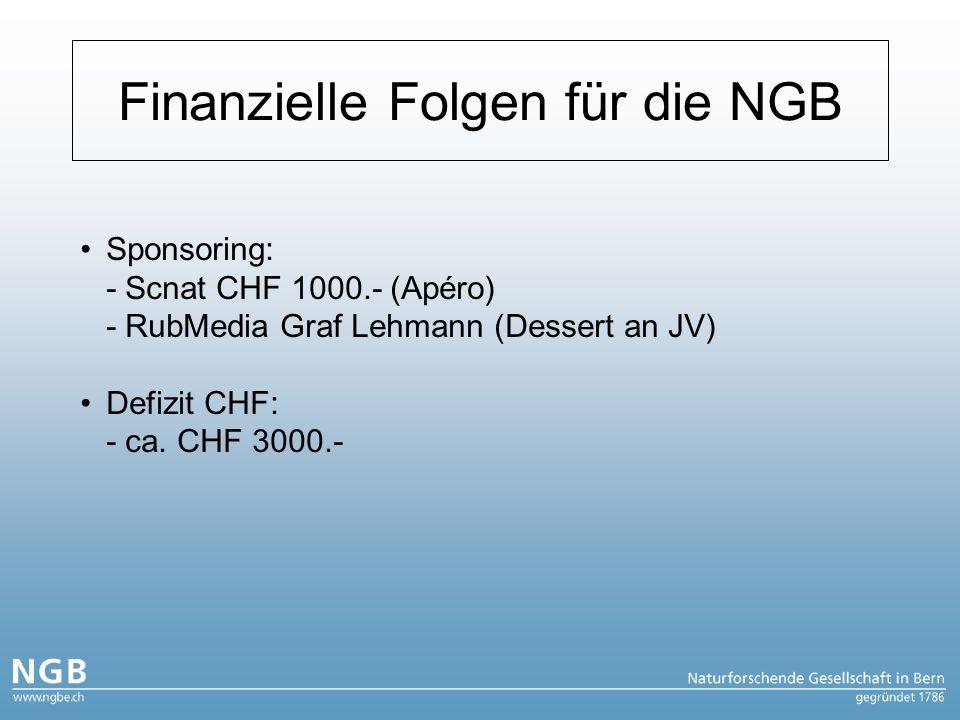 Finanzielle Folgen für die NGB Sponsoring: - Scnat CHF 1000.- (Apéro) - RubMedia Graf Lehmann (Dessert an JV) Defizit CHF: - ca.