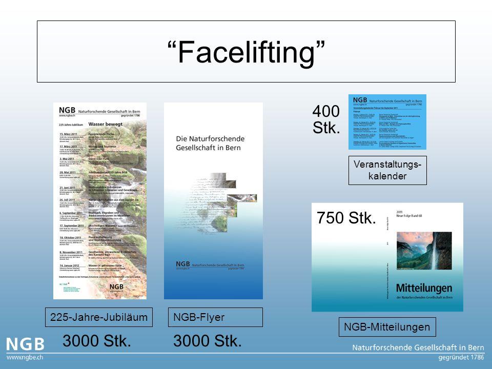 Facelifting 225-Jahre-Jubiläum NGB-Mitteilungen NGB-Flyer Veranstaltungs- kalender 3000 Stk.