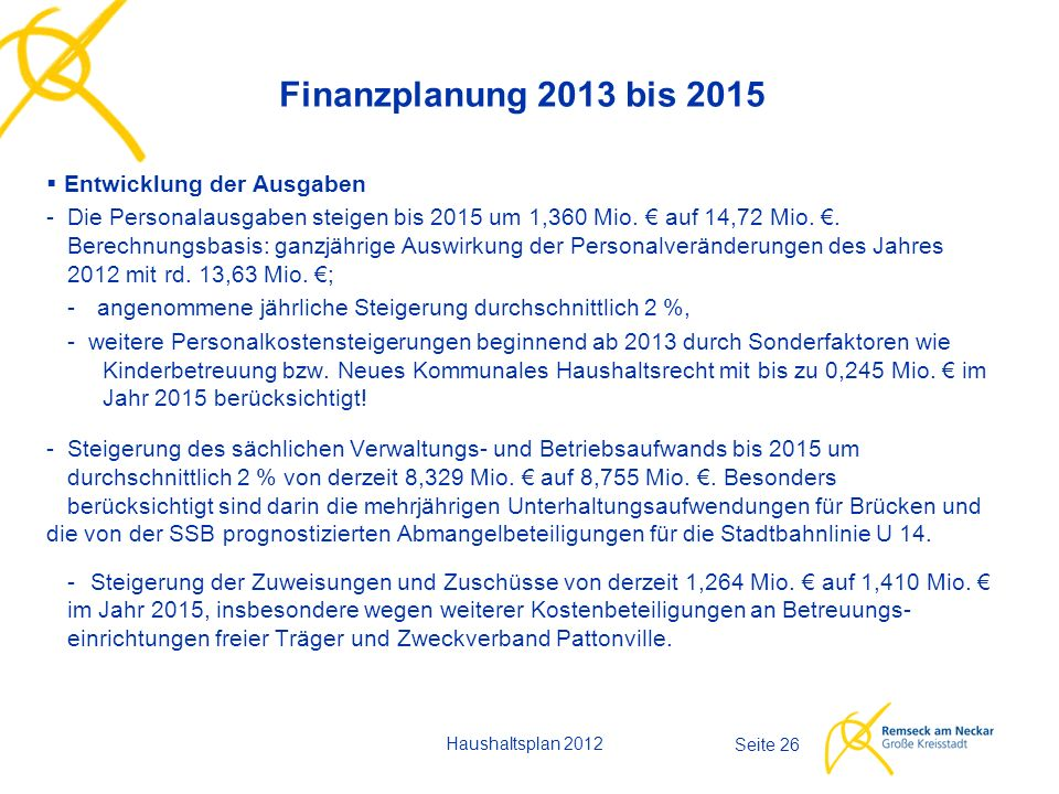 Haushaltsplan 2012 Seite 26 Finanzplanung 2013 bis 2015  Entwicklung der Ausgaben -Die Personalausgaben steigen bis 2015 um 1,360 Mio. € auf 14,72 Mi