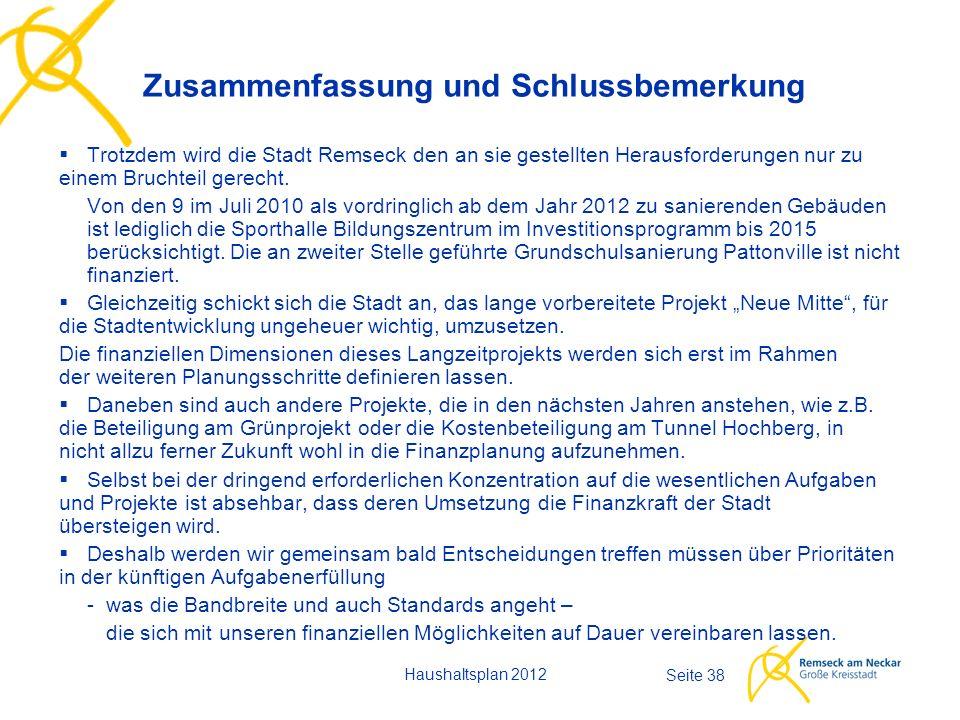 Haushaltsplan 2012 Seite 38  Trotzdem wird die Stadt Remseck den an sie gestellten Herausforderungen nur zu einem Bruchteil gerecht. Von den 9 im Jul