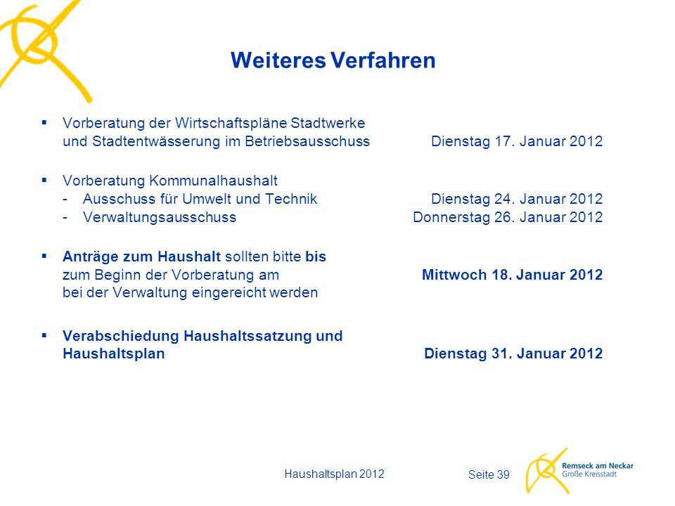 Haushaltsplan 2012 Seite 39 Weiteres Verfahren  Vorberatung der Wirtschaftspläne Stadtwerke und Stadtentwässerung im Betriebsausschuss Dienstag 17. J