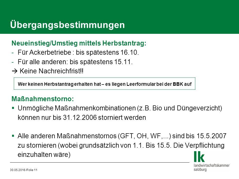 30.05.2016 /Folie 11 Neueinstieg/Umstieg mittels Herbstantrag: -Für Ackerbetriebe : bis spätestens 16.10.