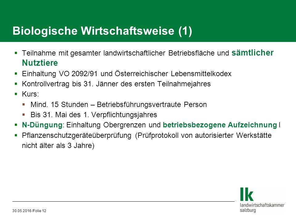 30.05.2016 /Folie 12 Biologische Wirtschaftsweise (1)  Teilnahme mit gesamter landwirtschaftlicher Betriebsfläche und sämtlicher Nutztiere  Einhaltung VO 2092/91 und Österreichischer Lebensmittelkodex  Kontrollvertrag bis 31.