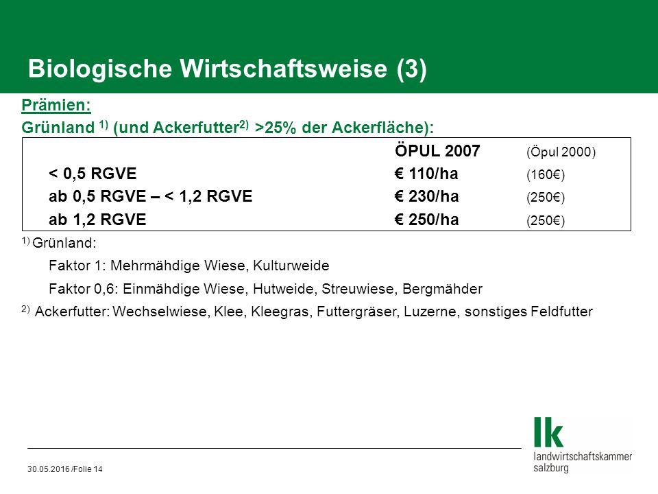 30.05.2016 /Folie 14 Biologische Wirtschaftsweise (3) Prämien: Grünland 1) (und Ackerfutter 2) >25% der Ackerfläche): ÖPUL 2007 (Öpul 2000) < 0,5 RGVE€ 110/ha (160€) ab 0,5 RGVE – < 1,2 RGVE€ 230/ha (250€) ab 1,2 RGVE € 250/ha (250€) 1) Grünland: Faktor 1: Mehrmähdige Wiese, Kulturweide Faktor 0,6: Einmähdige Wiese, Hutweide, Streuwiese, Bergmähder 2) Ackerfutter: Wechselwiese, Klee, Kleegras, Futtergräser, Luzerne, sonstiges Feldfutter
