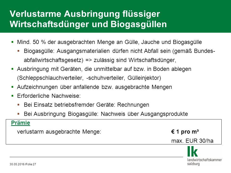 30.05.2016 /Folie 27 Verlustarme Ausbringung flüssiger Wirtschaftsdünger und Biogasgüllen  Mind.