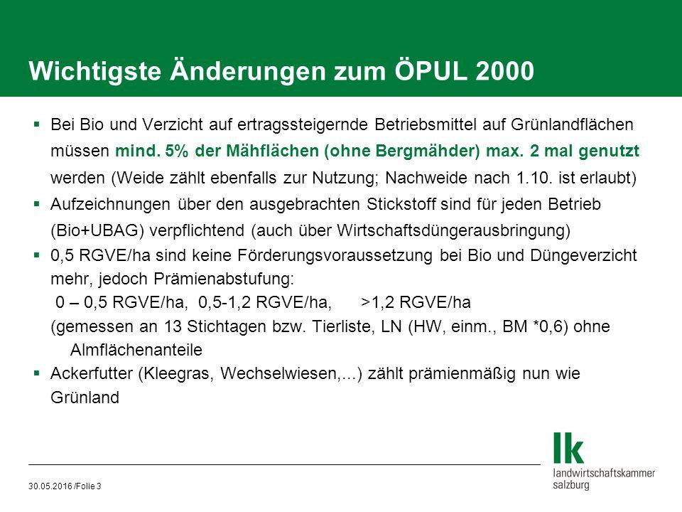 30.05.2016 /Folie 3 Wichtigste Änderungen zum ÖPUL 2000  Bei Bio und Verzicht auf ertragssteigernde Betriebsmittel auf Grünlandflächen müssen mind.