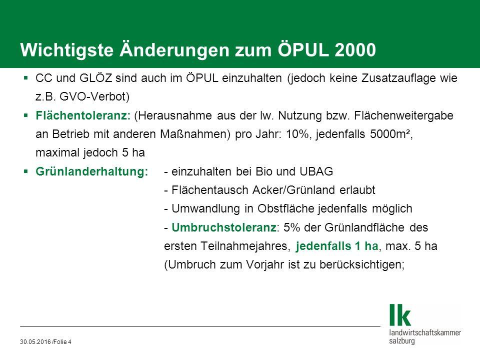 30.05.2016 /Folie 4 Wichtigste Änderungen zum ÖPUL 2000  CC und GLÖZ sind auch im ÖPUL einzuhalten (jedoch keine Zusatzauflage wie z.B.