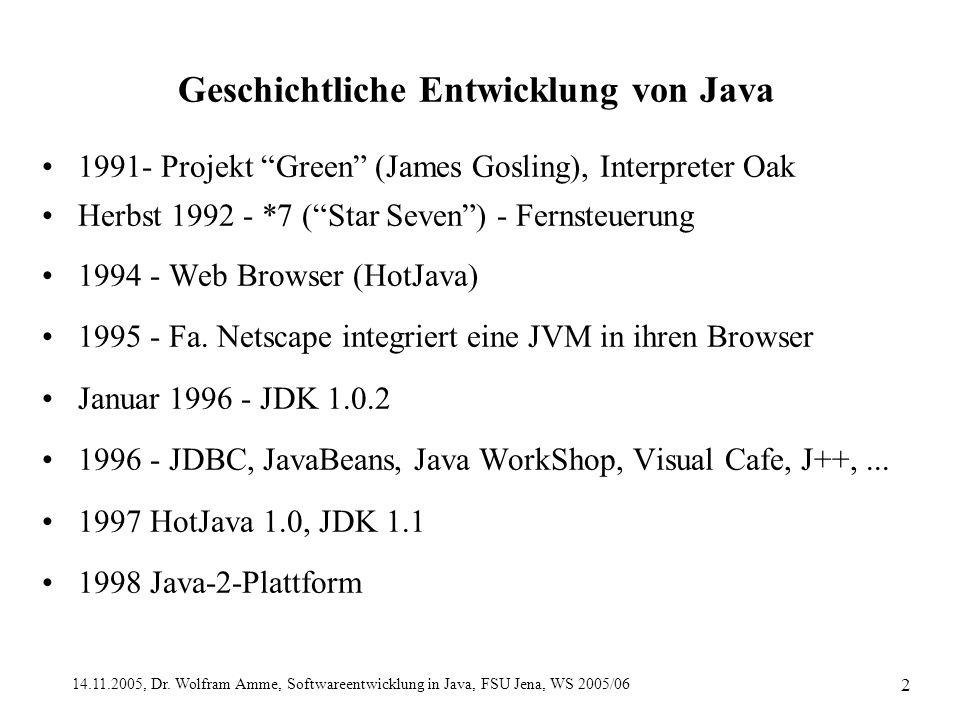 """14.11.2005, Dr. Wolfram Amme, Softwareentwicklung in Java, FSU Jena, WS 2005/06 2 Geschichtliche Entwicklung von Java 1991- Projekt """"Green"""" (James Gos"""