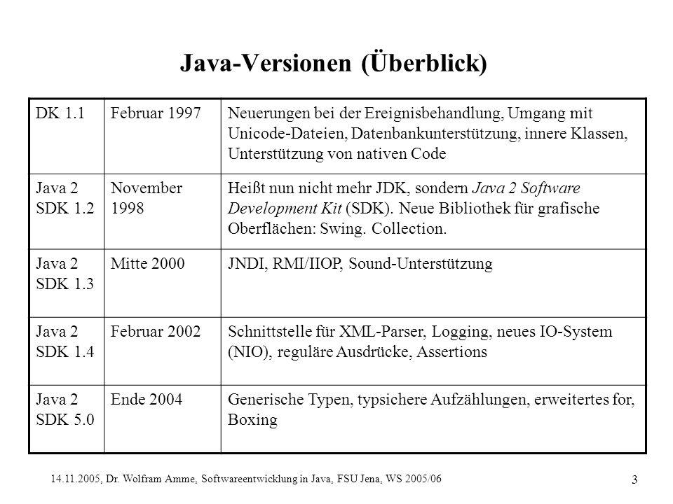 14.11.2005, Dr. Wolfram Amme, Softwareentwicklung in Java, FSU Jena, WS 2005/06 3 Java-Versionen (Überblick) DK 1.1Februar 1997Neuerungen bei der Erei