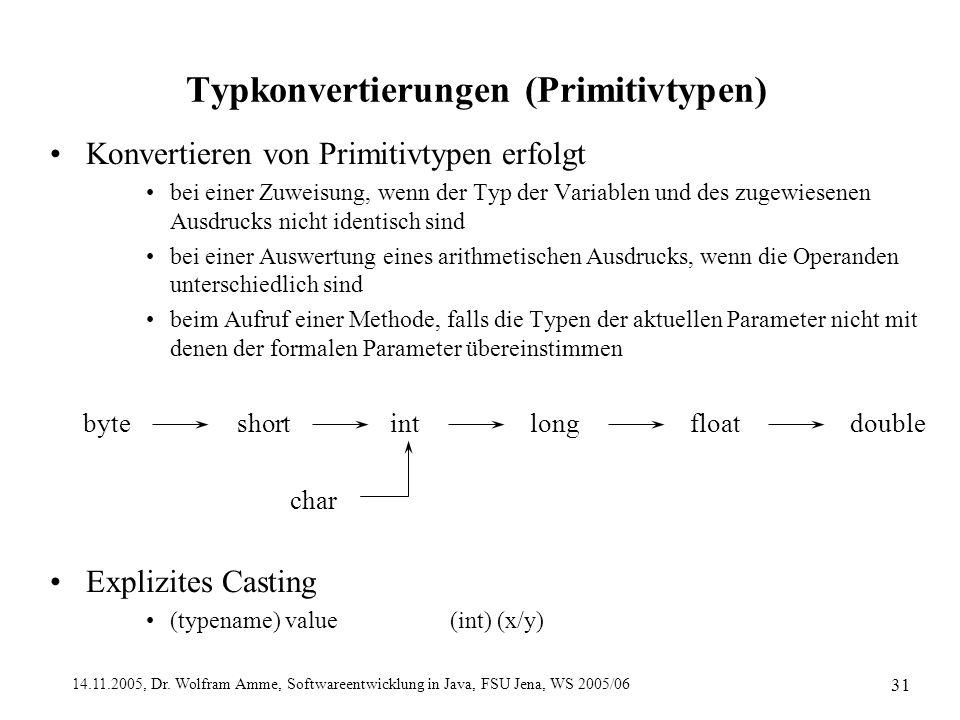 14.11.2005, Dr. Wolfram Amme, Softwareentwicklung in Java, FSU Jena, WS 2005/06 31 Typkonvertierungen (Primitivtypen) Konvertieren von Primitivtypen e
